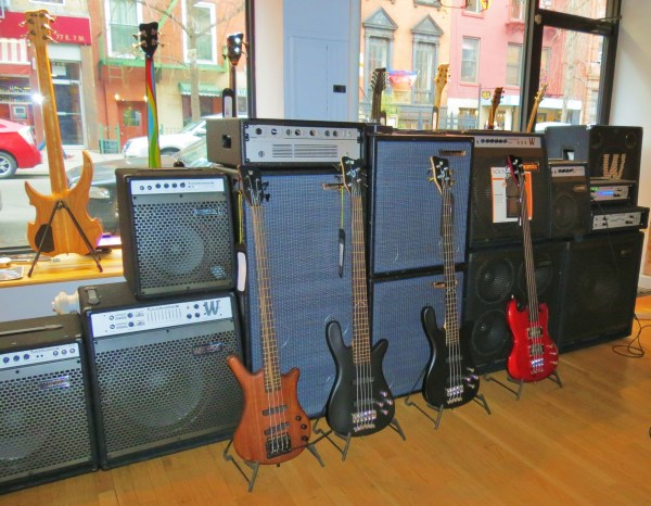 Amps and basses at the front