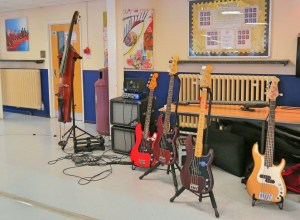 Basses in the foyer